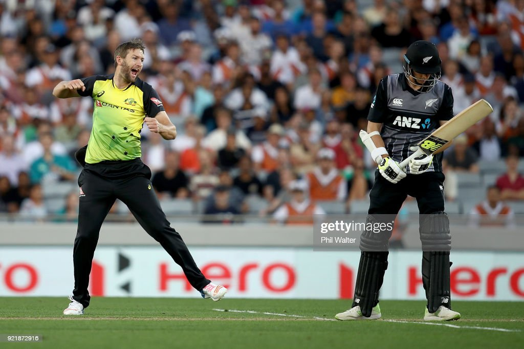 Andrew Tye of Australia celebrates his dismissal of Mitchell Santner of New Zealand during the International Twenty20 Tri Series Final match between New Zealand and Australia at Eden Park on February 21, 2018 in Auckland, New Zealand.