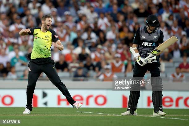 Andrew Tye of Australia celebrates his dismissal of Mitchell Santner of New Zealand during the International Twenty20 Tri Series Final match between...