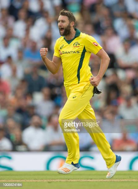 Andrew Tye of Australia celebrates taking the wicket of Eon Morgan of Australia during the 1st Royal London ODI between England and Australia at the...