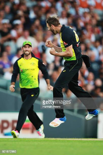 Andrew Tye of Australia celebrates the wicket of Mitchell Santner of the Black Caps during the International Twenty20 Tri Series Final match between...