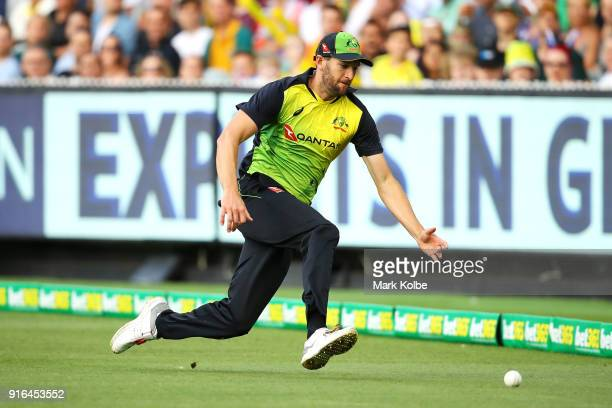 Andrew Tye of Australia dives to field a ball during game two of the International Twenty20 series between Australia and England at Melbourne Cricket...