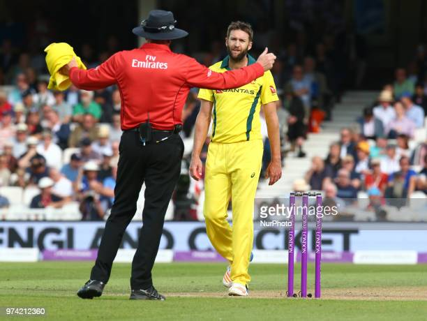 Andrew Tye of Australia not happy with the Umpire during One Day International Series match between England and Australia at Kia Oval Ground London...