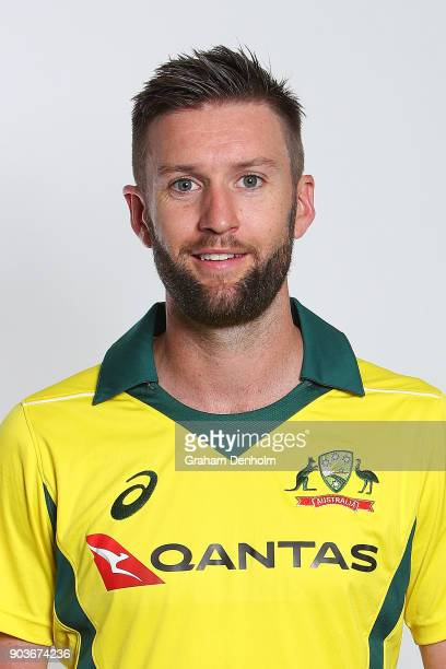 Andrew Tye of Australia poses during an Australia One Day International headshots session at the Melbourne Cricket Ground on January 11 2018 in...