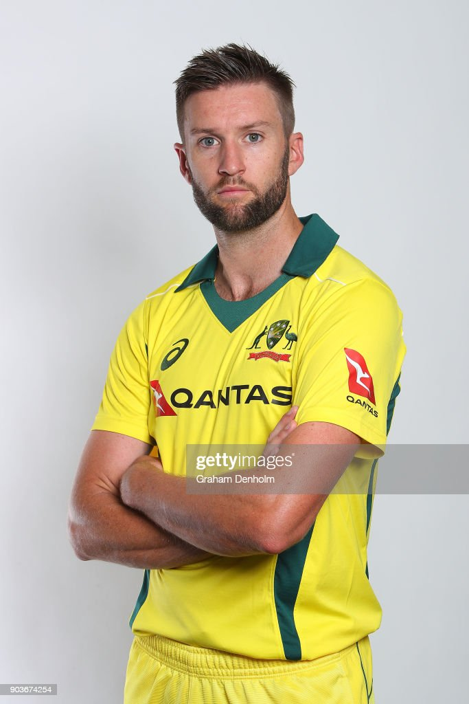 Andrew Tye of Australia poses during an Australia One Day International headshots session at the Melbourne Cricket Ground on January 11, 2018 in Melbourne, Australia.