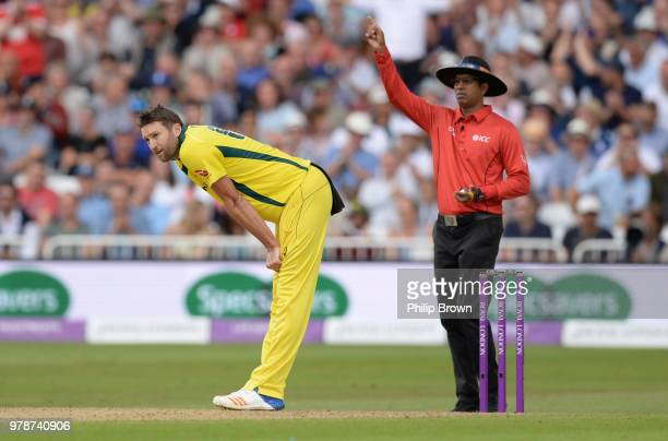 Andrew Tye of Australia reacts during the third Royal London OneDay International match between England and Australia at Trent Bridge on June 19 2018...