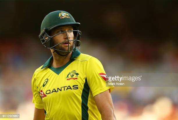 Andrew Tye of Australia walks from the field after being dismissed during game five of the One Day International match between Australia and England...