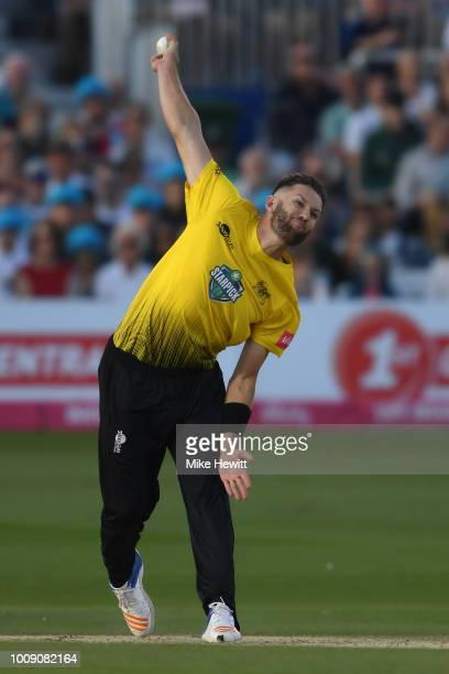 Andrew Tye of Gloucestershire in action during the Vitality Blast match between Sussex and Gloucestershire at The 1st Central County Ground on August...