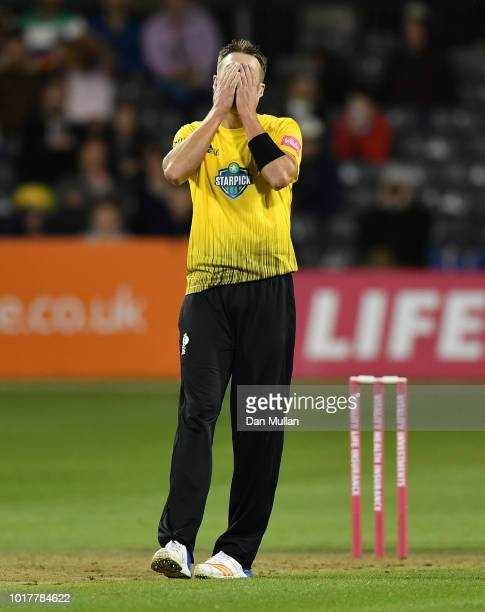 Andrew Tye of Gloucestershire reacts during the Vitality Blast match between Gloucestershire and Sussex Sharks at The Brightside Ground on August 16...
