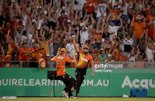 Andrew Tye of Perth Scorchers celebrates catching out Jackson Bird of Melbourne Stars during the Big Bash League Semi Final match between the Perth...
