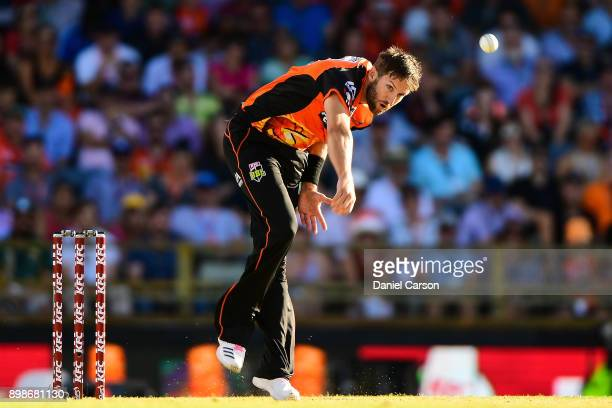 Andrew Tye of the Perth Scorchers bowls the ball during the Big Bash League match between the Perth Scorchers and the Melbourne Stars at WACA on...