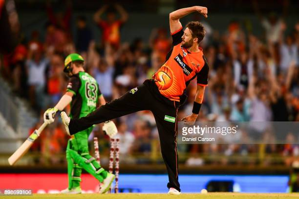 Andrew Tye of the Perth Scorchers celebrates win taking the final wicket during the Big Bash League match between the Perth Scorchers and the...