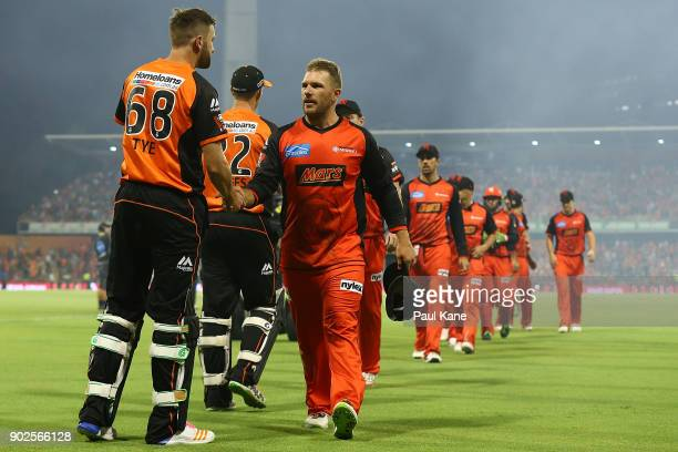 Andrew Tye of the Scorchers and Aaron Finch of the Renegades shake hands after the Big Bash League match between the Perth Scorchers and the...