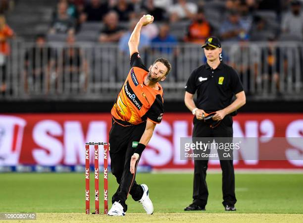 Andrew Tye of the Scorchers bowls during the Big Bash League match between the Perth Scorchers and the Brisbane Heat at Optus Stadium on January 05...