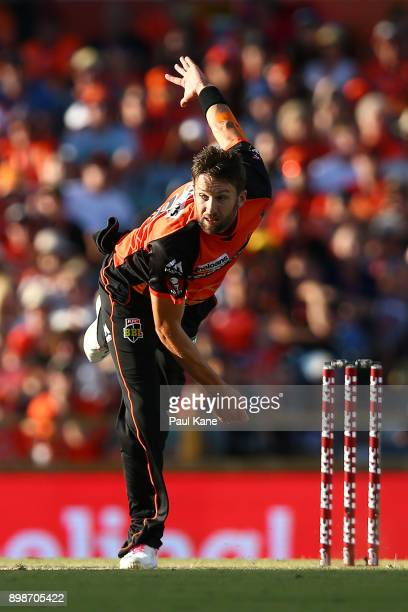 Andrew Tye of the Scorchers bowls during the Big Bash League match between the Perth Scorchers and the Melbourne Stars at WACA on December 26 2017 in...