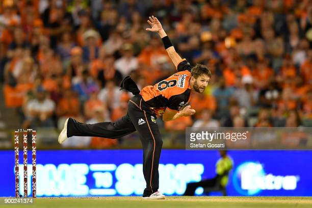 Andrew Tye of the Scorchers bowls during the Big Bash League match between the Perth Scorchers and the Sydney Sixers at WACA on January 1 2018 in...