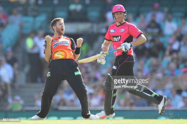 Andrew Tye of the Scorchers celebrates a hattrick after dismissing Daniel Sams of the Sixers during the Big Bash League match between the Sydney...
