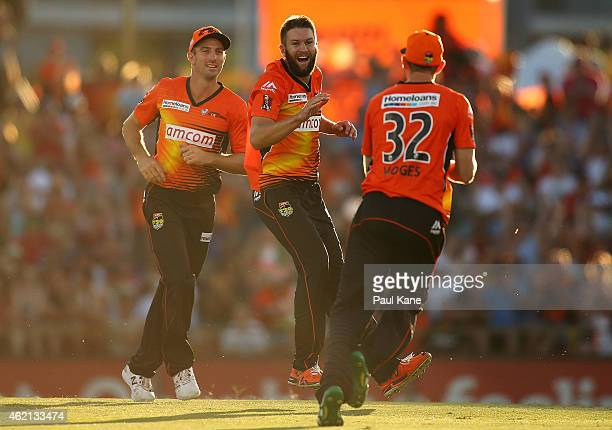 Andrew Tye of the Scorchers celebrates after dismissing Luke Wright of the Stars during the Big Bash League Semi Final match between the Perth...