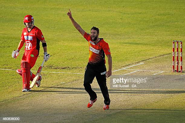 Andrew Tye of the Scorchers celebrates after taking the wicket of Tom Cooper of the Renegades during the Big Bash League match between the Perth...
