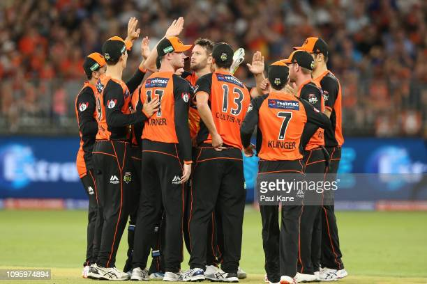 Andrew Tye of the Scorchers celebrates the wicket of D'Arcy Short of the Hurricanes during the Big Bash League match between the Perth Scorchers and...