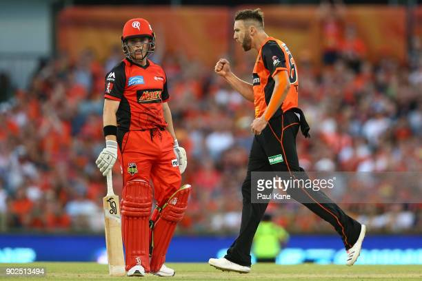 Andrew Tye of the Scorchers celebrates the wicket of Marcus Harris of the Renegades during the Big Bash League match between the Perth Scorchers and...