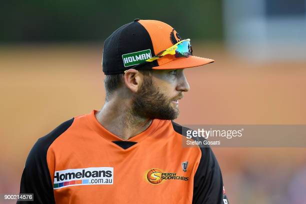 Andrew Tye of the Scorchers looks on during the Big Bash League match between the Perth Scorchers and the Sydney Sixers at WACA on January 1 2018 in...