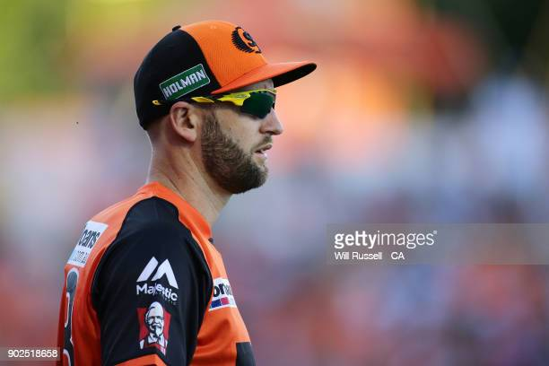 Andrew Tye of the Scorchers looks on during the Big Bash League match between the Perth Scorchers and the Melbourne Renegades at WACA on January 8...