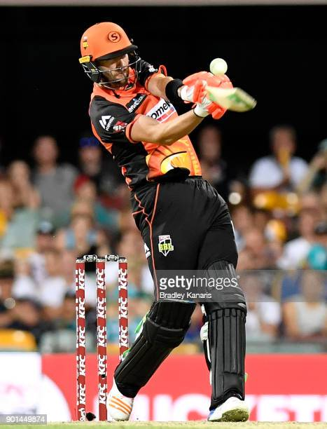 Andrew Tye of the Scorchers plays a shot during the Big Bash League match between the Brisbane Heat and the Perth Scorchers at The Gabba on January 5...