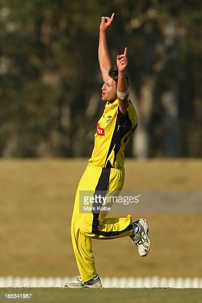 Andrew Tye of the Warriors celebrates taking the wicket of Ben Laughlin of the Tigers during the Ryobi Cup match between the Tasmania Tigers and the...