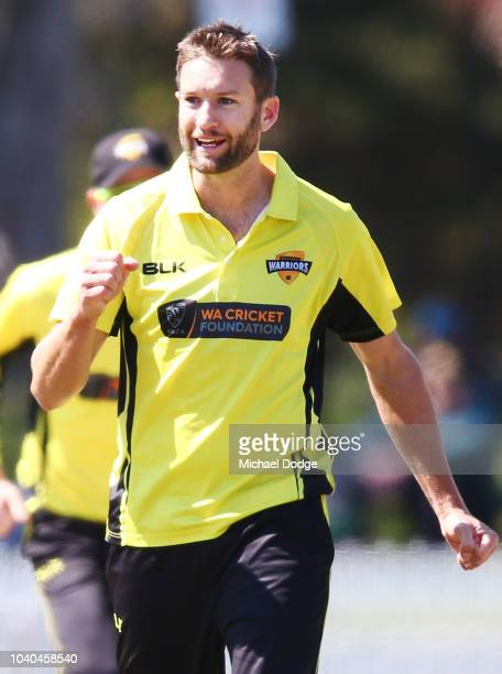 Andrew Tye of Western Australia celebrates a wicket of Peter Handscomb of Victoria during the JLT One Day Cup between Victoria and Western Australia...