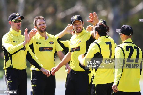 Andrew Tye of Western Australia celebrates the wicket of Glenn Maxwell of Victoria during the JLT One Day Cup between Victoria and Western Australia...