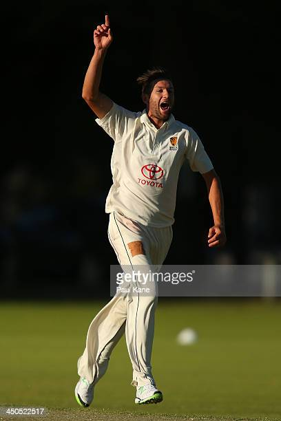 Andrew Tye of Western Australia celebrates the wicket of Henry Terry of Tasmania during day two of the Futures League match between Western Australia...