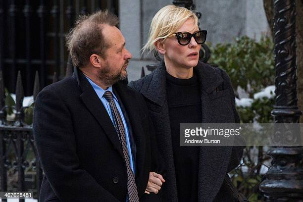 Andrew Upton and Cate Blanchett attend the funeral service for actor Philip Seymour Hoffman who died of an alleged drug overdose on February 1 2014...