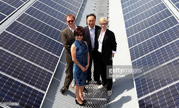 Andrew Upton and Cate Blanchett pose alongside other dignitaries on the rooftop at an event to celebrate the 'switchon' of the Sydney Theatre...