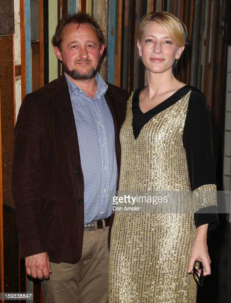 Andrew Upton and Cate Blanchett pose at opening night of The Secret River at the Sydney Theatre Company on January 12 2013 in Sydney Australia