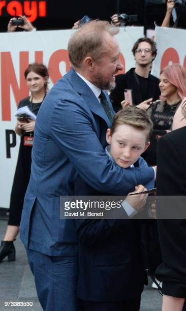 Andrew Upton and son Ignatius attend the 'Ocean's 8' UK Premiere held at Cineworld Leicester Square on June 13 2018 in London England