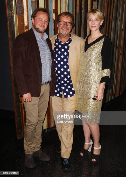 Andrew Upton Neil Armfield and Cate Blanchett pose at the opening night of The Secret River at the Sydney Theatre Company on January 12 2013 in...