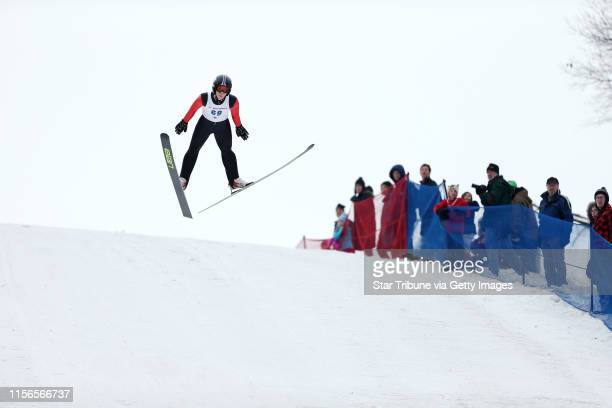 Andrew Urlaub of the Flying Eagles Ski Club of Eau Claire WI competed in the U16 event of the 70meters hill at Bush Lake Ski Jump Sunday January 24...