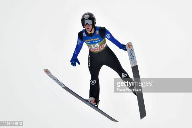 Andrew Urlaub of the United States competes on day 5 of the 68th FIS Nordic World Cup Four Hills Tournament ski jumping event at Bergisel Schanze on...