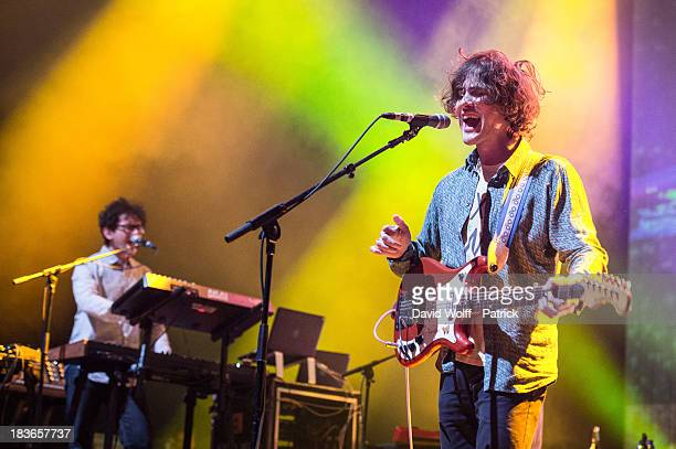 Andrew VanWyngarden from MGMT performs at l' Olympia on October 8 2013 in Paris France