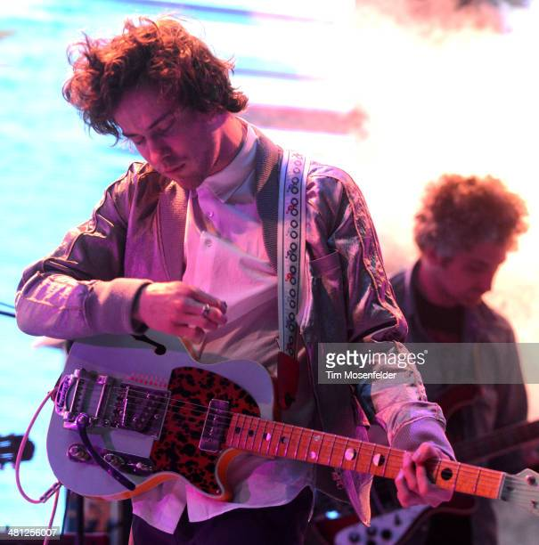 Andrew VanWyngarden of MGMT performs during the Ultra Music Festival at Bayfront Park Amphitheater on March 28 2014 in Miami Florida