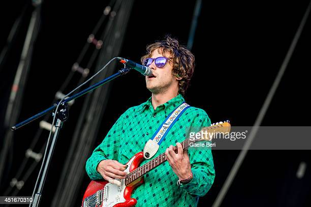 Andrew VanWyngarden of MGMT performs on stage at Open'er Festival at Gdynia Kosakowo Airport on July 3 2014 in Gdynia Poland