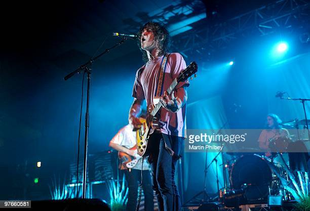 Andrew VanWyngarden of MGMT performs on stage at the Festival Hall on 11th December 2008 in Melbourne Australia