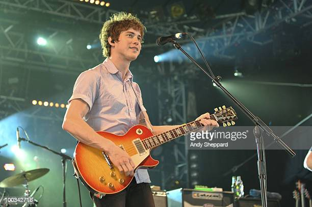 Andrew VanWyngarden of MGMT performs on stage during day one of BBC Radio 1's Big Weekend on May 22 2010 in Bangor Wales