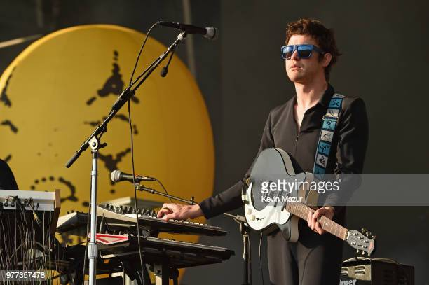 Andrew VanWyngarden of MGMT performs on the Firefly stage during the 2018 Firefly Music Festival on June 17 2018 in Dover Delaware
