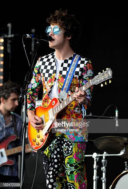 Andrew VanWyngarden of MGMT performs on the Other stage on the last day of Glastonbury Festival at Worthy Farm on June 27 2010 in Glastonbury England