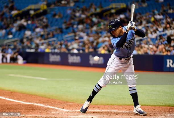 Andrew Velazquez of the Tampa Bay Rays gets hit by a pitch thrown by Taylor Guerrieri of the Toronto Blue Jays in the eighth inning on September 30...