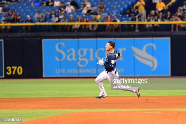 Andrew Velazquez of the Tampa Bay Rays hits a double in the seventh inning against the Toronto Blue Jays on September 29 2018 at Tropicana Field in...