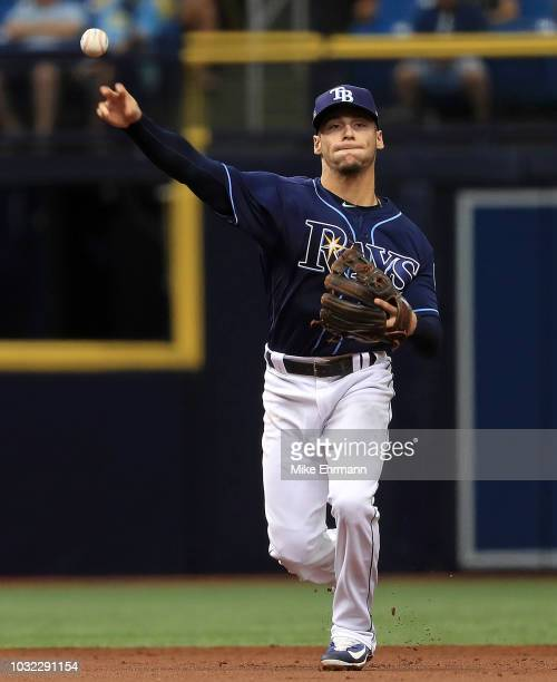 Andrew Velazquez of the Tampa Bay Rays makes a throw to first during a game against the Cleveland Indians at Tropicana Field on September 12 2018 in...