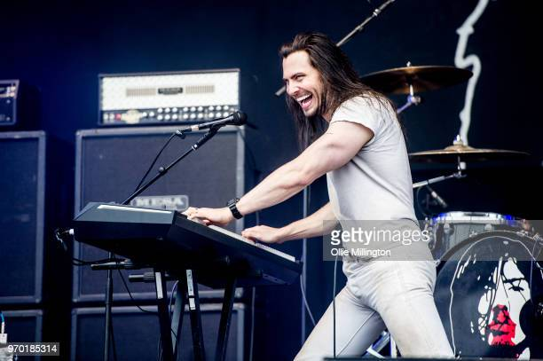 Andrew W K performs onstage at Download Festival 2018 at Donington Park on June 8 2018 in Donington England