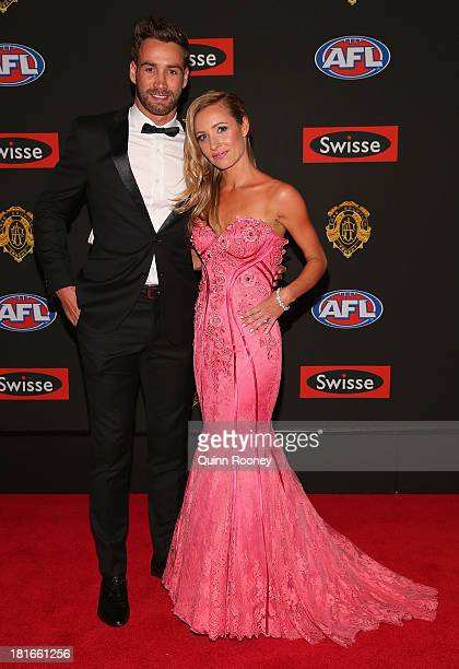 Andrew Walker of the Blues and his partner Kylie Battye arrive ahead of the 2013 Brownlow Medal at Crown Palladium on September 23 2013 in Melbourne...